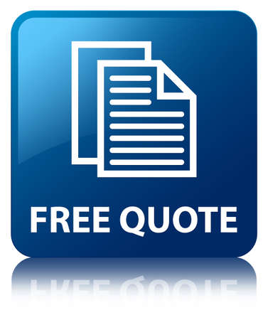 Free quote glossy blue reflected square button photo