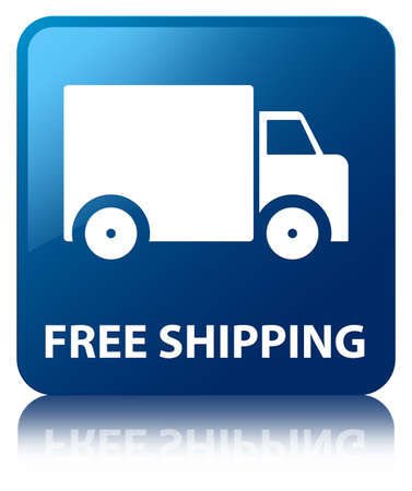 Free shipping glossy blue reflected square button photo