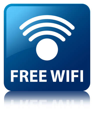 Free wifi glossy blue reflected square button photo