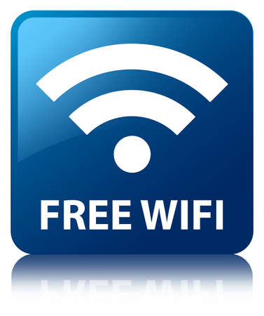 Free wifi glossy blue reflected square button