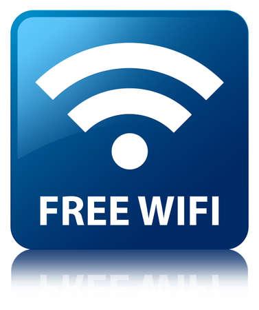 zone: Gratis wifi glanzende blauwe weerspiegeld vierkante knop Stockfoto