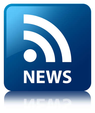 business news: News  rss icon  glossy blue reflected square button Stock Photo