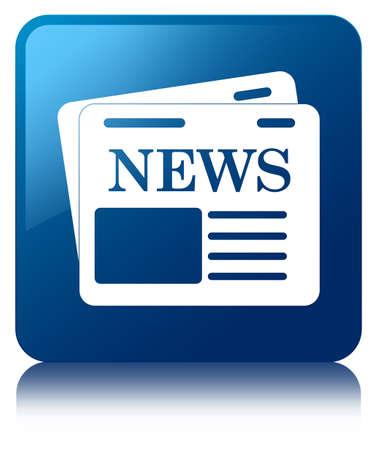 Nieuws icon glanzend blauw weerspiegeld vierkante knop