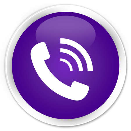 Phone ringing icon glossy purple button photo
