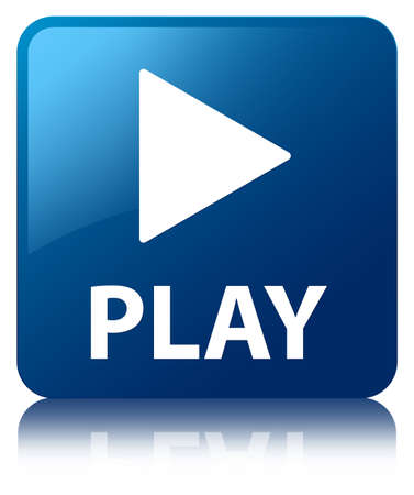 Play glossy blue reflected square button photo