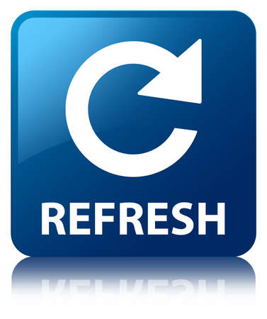 Refresh glossy blue reflected square button Stock Photo - 18763299