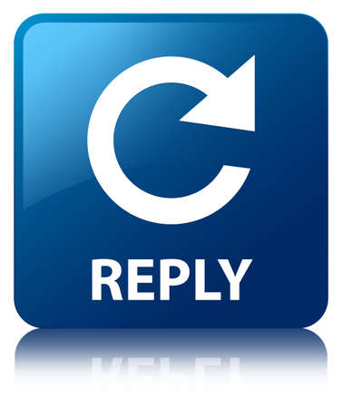reply: Reply glossy blue reflected square button Stock Photo