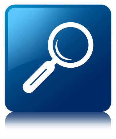 Search icon glossy blue reflected square button