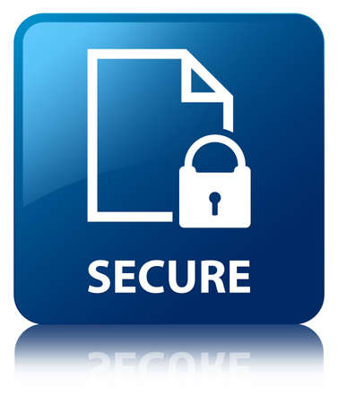 encrypted files icon: Secure glossy blue reflected square button