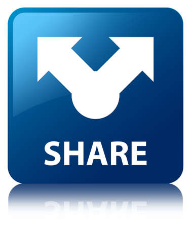 Share glossy blue reflected square button Stock Photo - 18763325