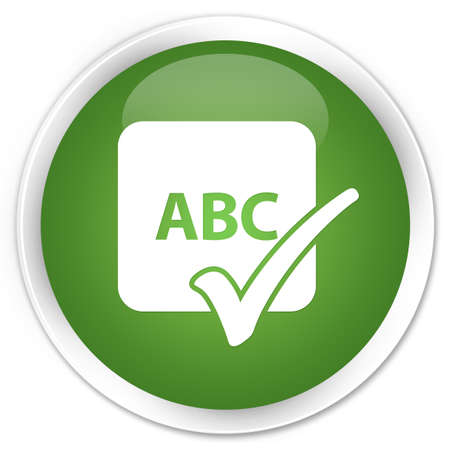 Spell check  abc  glossy green button photo