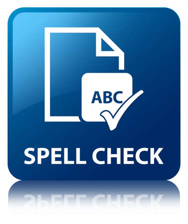 Spell check  abc  glossy blue reflected square button Stock Photo - 18763314