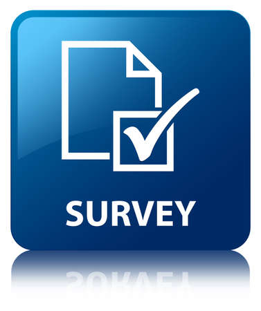 feedback icon: Survey glossy blue reflected square button