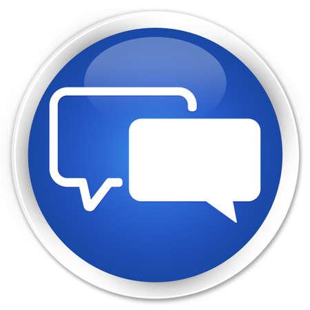 Testimonial icon glossy blue button 스톡 콘텐츠