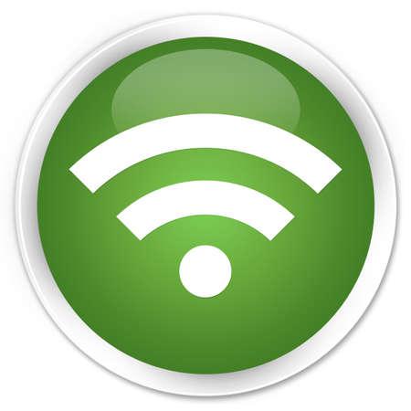 wlan: Wifi icon glossy green button