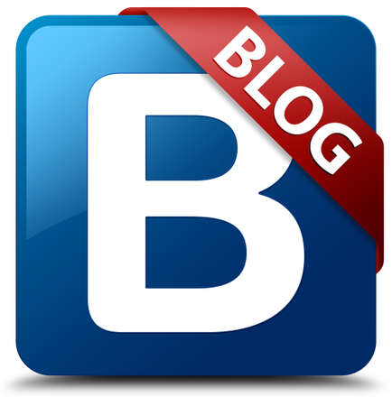 Blog  B letter icon  glassy red ribbon on glossy blue square button  Standard-Bild