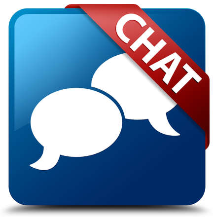 Chat  Talk icon  glassy red ribbon on glossy blue square button  photo