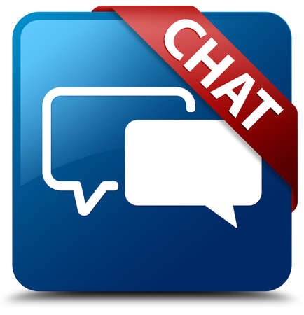 Chat  Talking icon  glassy red ribbon on glossy blue square button  photo