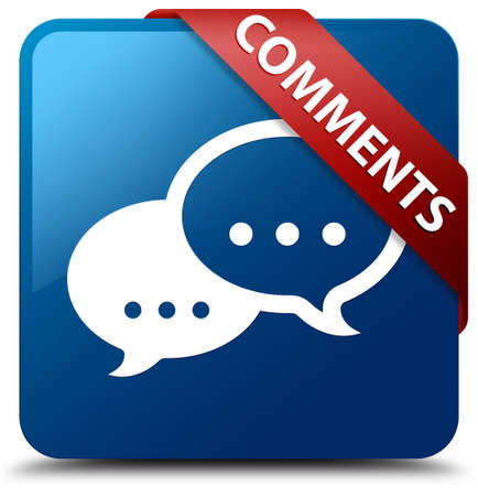 Comments  Conversation icon  glassy red ribbon on glossy blue square button  photo