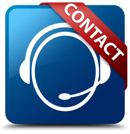 Contact  Customer care headphone icon  glassy red ribbon on glossy blue square button  Stock Photo - 19655014
