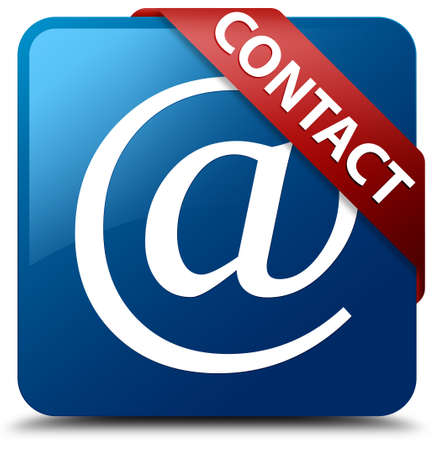 Contact  Email address icon  glassy red ribbon on glossy blue square button  photo