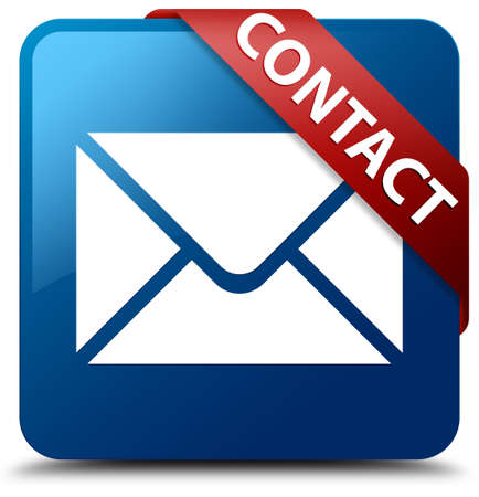 Contact Email icoon glasachtig rood lint op glanzende blauwe vierkante knop Stockfoto