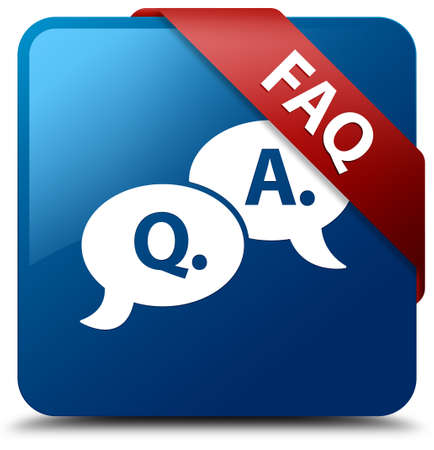 FAQ  Faq icon  glassy red ribbon on glossy blue square button  Stockfoto
