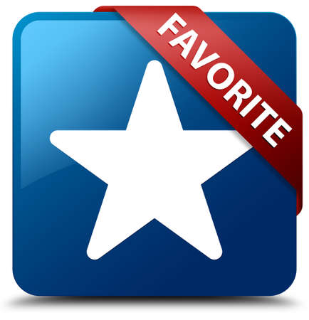 Favorite  Star icon  glassy red ribbon on glossy blue square button  photo