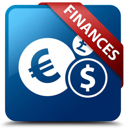 Finances  Finance icon  glassy red ribbon on glossy blue square button  photo