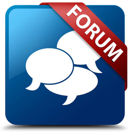 discussion forum: Forum  Communication icon  glassy red ribbon on glossy blue square button  Stock Photo