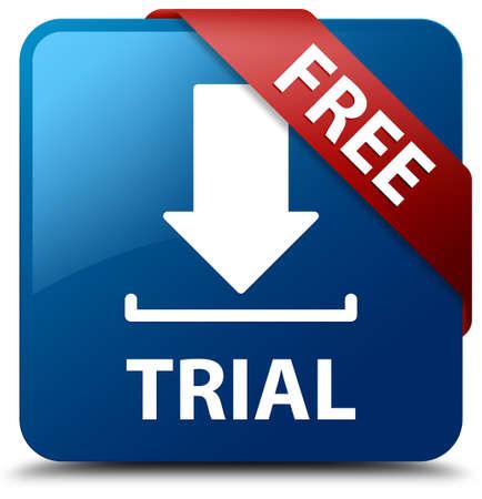 Gratis trial downloaden icoon glasachtig rood lint op glanzende blauwe vierkante knop