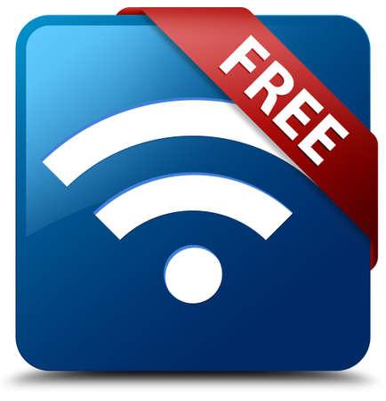 Free Wifi Symbol glasigen roten Band auf glänzende blaue Quadrat-Taste Standard-Bild - 19654958