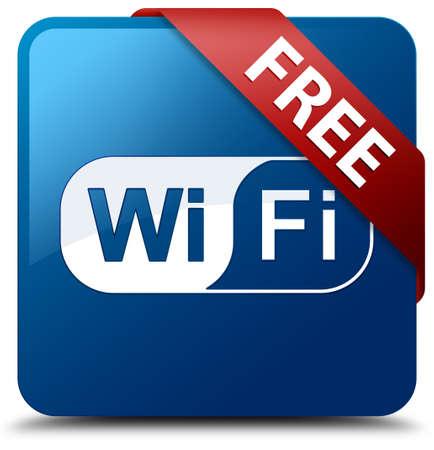 Gratis wifi glazig rood lint op glanzende knop blauw vierkant Stockfoto