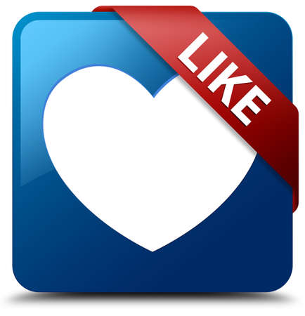 Like  Love icon  glassy red ribbon on glossy blue square button  photo
