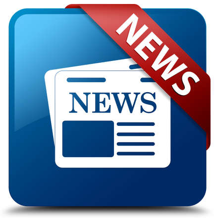 News  Newspaper icon  glassy red ribbon on glossy blue square button