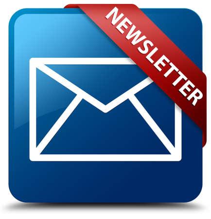 Nieuwsbrief Email icoon glasachtig rood lint op glanzende blauwe vierkante knop