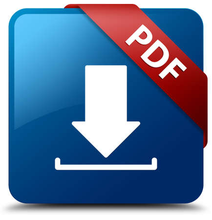 PDF  Download icon  glassy red ribbon on glossy blue square button  Stock Photo - 19654961