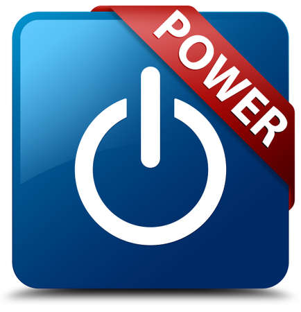 Power  Power icon  glassy red ribbon on glossy blue square button  photo