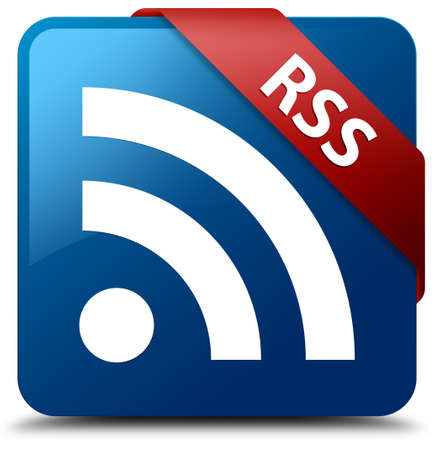 RSS  RSS icon  glassy red ribbon on glossy blue square button  photo