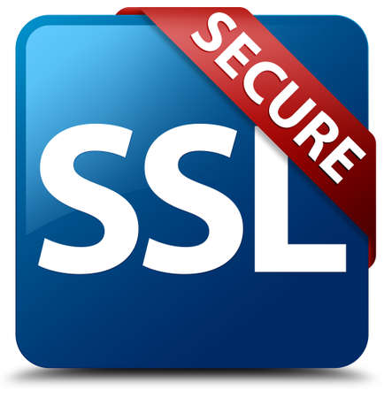 Veilige SSL glazig rood lint op glanzende blauwe vierkante knop Stockfoto