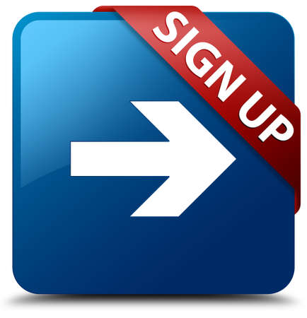 registry: Sign up  arrow icon  glassy red ribbon on glossy blue square button