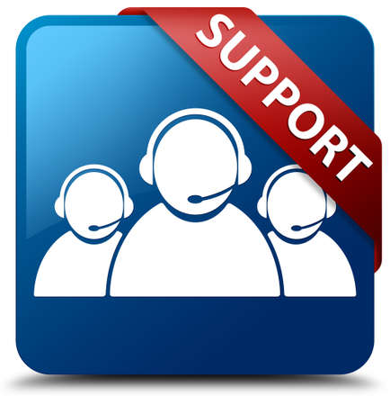 help desk: Support  Customer care team icon  glassy red ribbon on glossy blue square button
