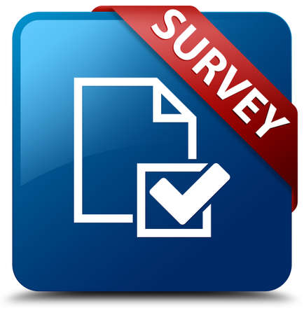 Survey  Survey page icon  glassy red ribbon on glossy blue square button