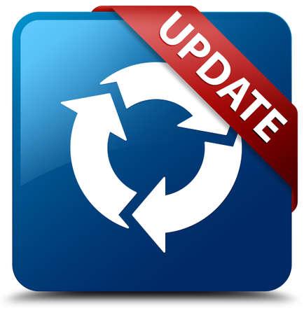 Update Vernieuwen pictogram glasachtig rood lint op glanzende blauwe vierkante knop