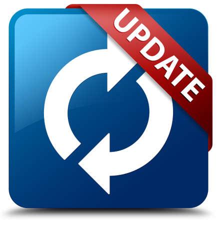 光沢のある青色の正方形ボタン更新アイコン ガラス赤いリボンを更新します。 写真素材