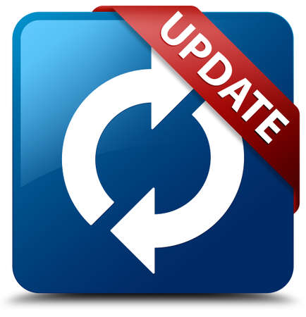 Update  Update icon  glassy red ribbon on glossy blue square button  photo
