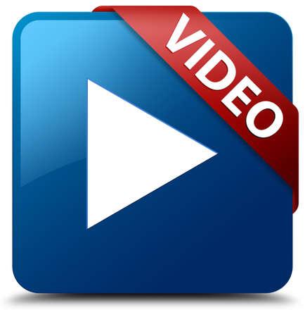 Video Play icoon glasachtig rood lint op glanzende blauwe vierkante knop Stockfoto