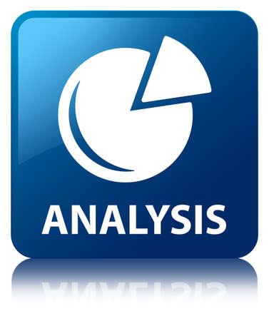 Vierkante knop analyse grafiek pictogram glanzend blauw gereflecteerd Stockfoto