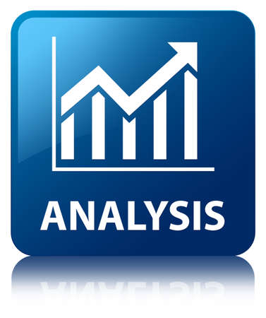 Analysis  statistics icon  glossy blue reflected square button photo