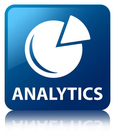 Analytics  graph icon  glossy blue reflected square button photo